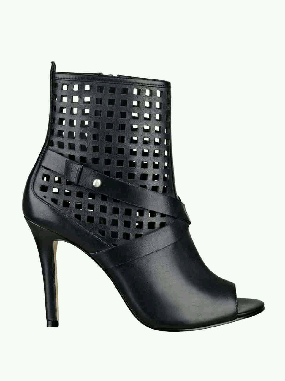 GUESS OPEN TOE PERFORATED démarrageIES noir LEATHER Taille 5.5