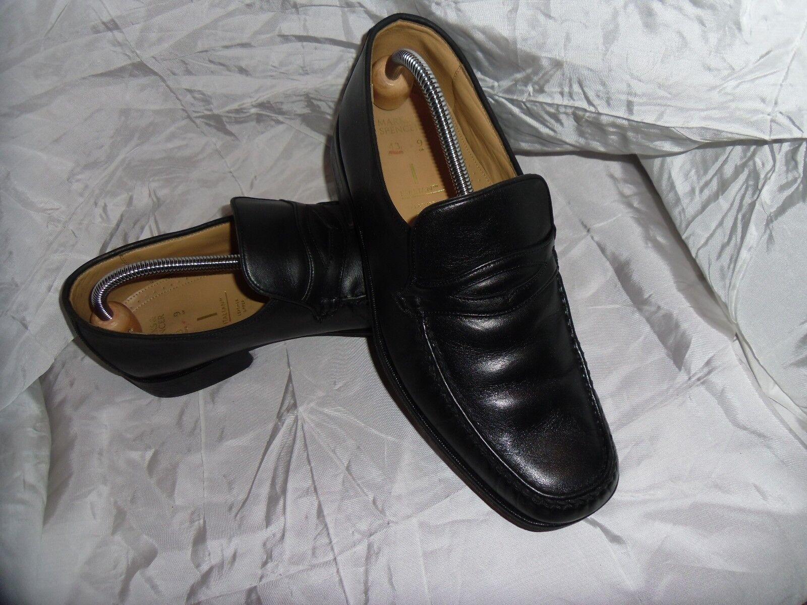 MARKS & SLIP SPENCER MEN'S BLACK LEATHER SLIP & ON Schuhe SIZE UK 9 EU 43 VGC 88b09d