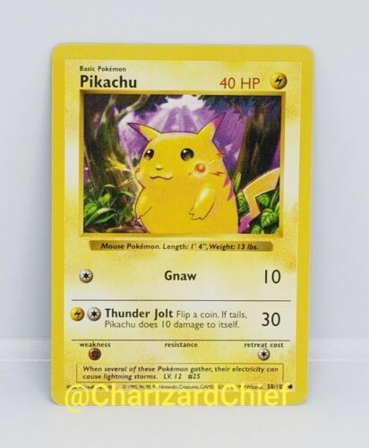 Shadowless Red Cheek Pikachu 58//102 Pokemon Card Misprint Base Set Collection
