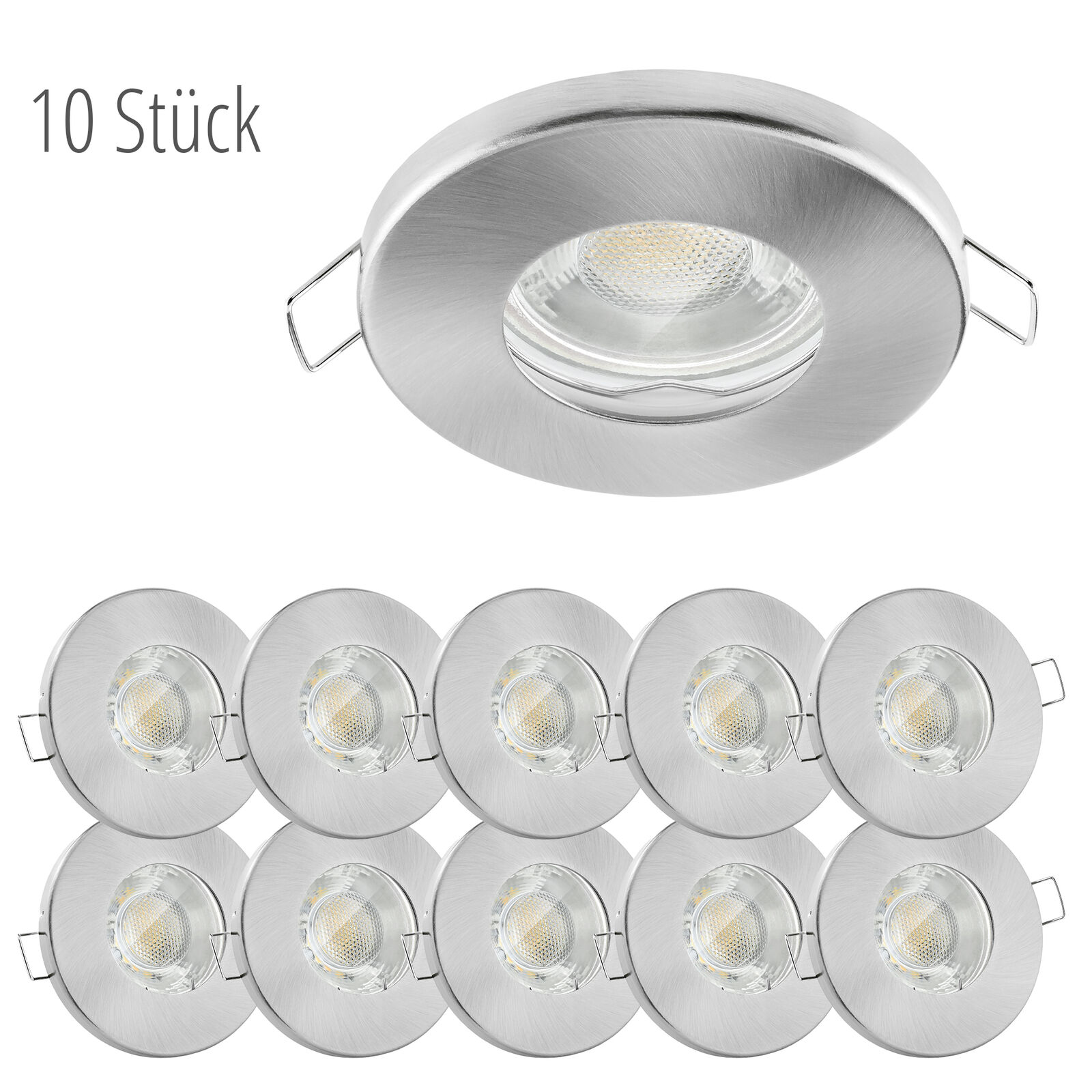10x linovum® LED Einbauspots Set flach IP65 - Bad, Dusche, Außen 6W neutralweiß