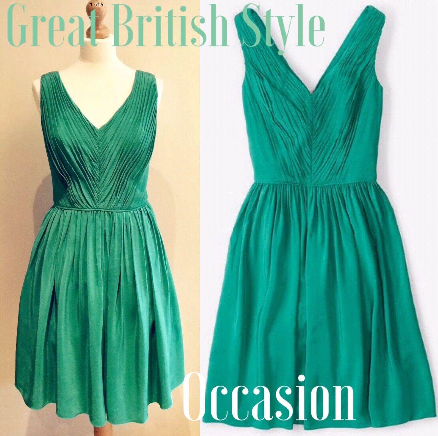 BODEN Grün SWISHY DRESS Größe 10 r BNWTS