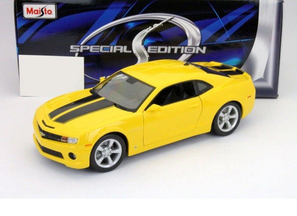 Maisto Chevrolet Camaro SS RS 2010 giallo y nero Coche 1 18 Modelo Genuino Nuevo
