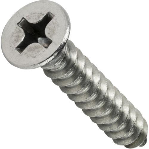 "#6 x 1-3//4/"" Phillips Flat Head Sheet Metal Screws Stainless Steel Qty 250"