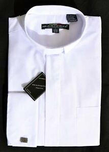 New mens white tab collar clergy shirt pastor preacher for Mens tab collar dress shirts