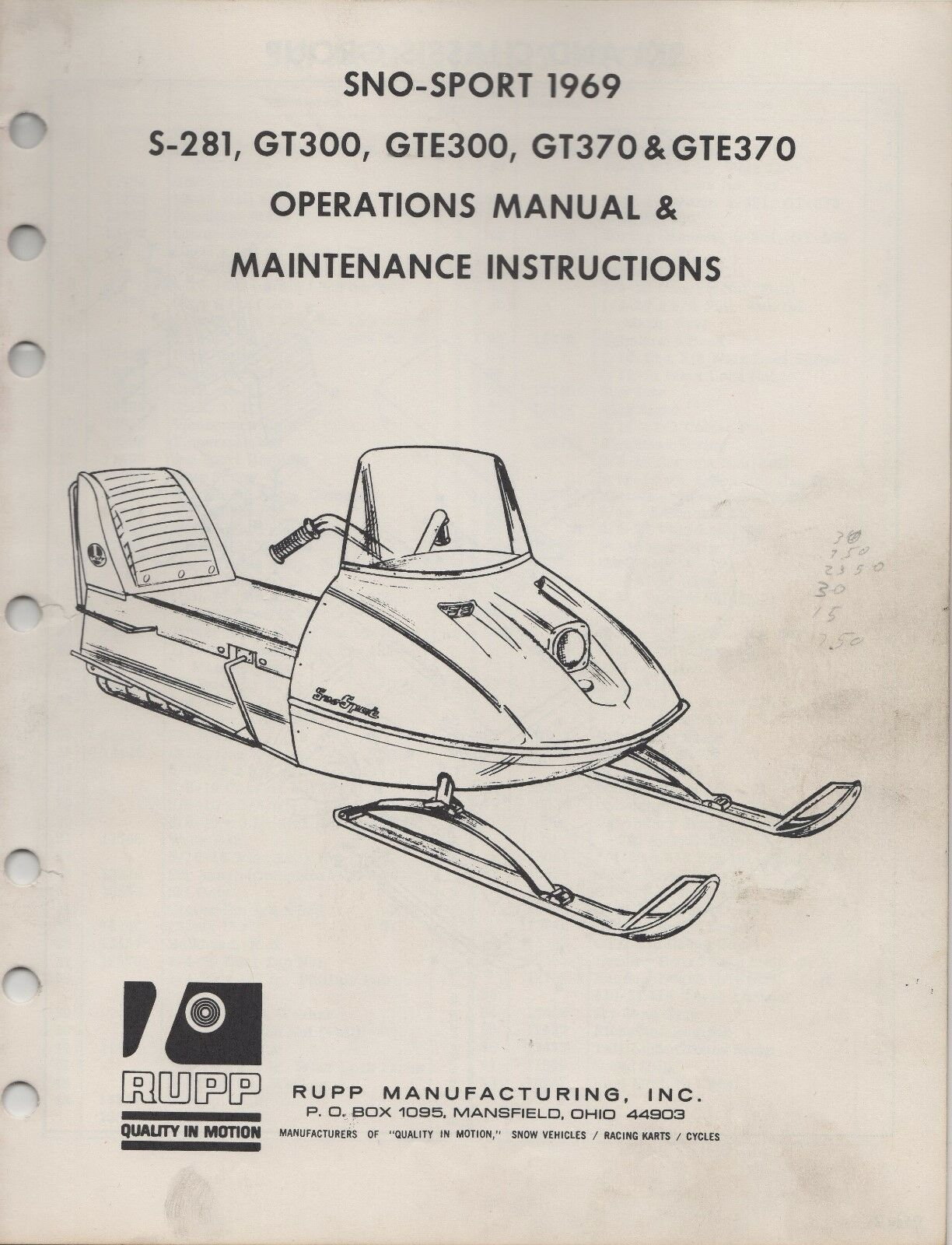 1969 RUPP SNOWMOBILE SNO-SPORT OPERATIONS ,MAINTENANCE MANUAL (644)   order now with big discount & free delivery