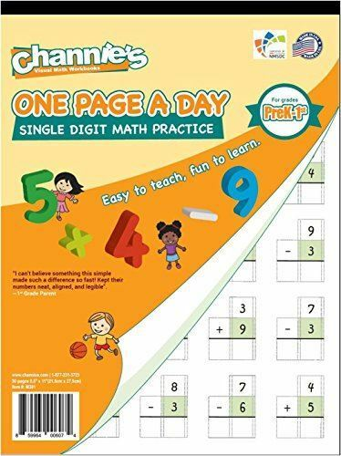 Channies One Page a Day Single DIGIT Math Problem Workbook for Prek-1st 50  Pages