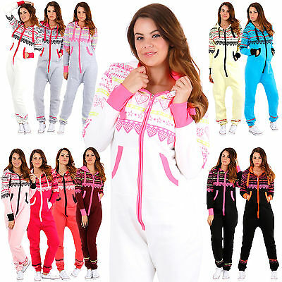New Womens Ladies Heart Print Hooded Zip Up Onisie All In One Jumpsuit Playsuit