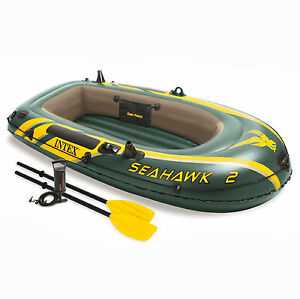 Intex-Seahawk-2-Inflatable-2-Person-Floating-Boat-Raft-Set-with-Oars-amp-Air-Pump