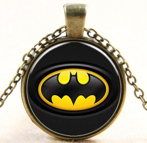 Vintage Super-héros Batman Cabochon Bronze Verre Chaîne Collier Pendentif W145