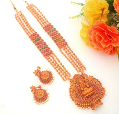 South Indian Temple Jewelry Bollywood Red Gold Tone Matt Long Necklace Set S50