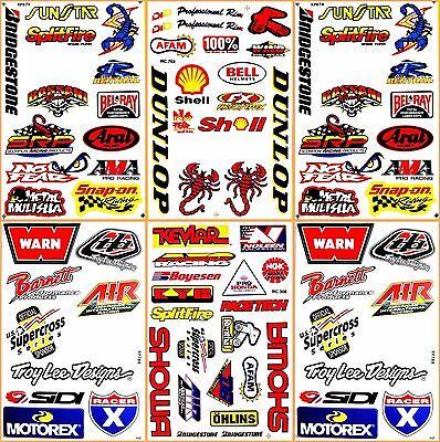 Motocross Motorcycles ATV Racing D6220 Lot 6 Vinyl Decals and Stickers Sheet