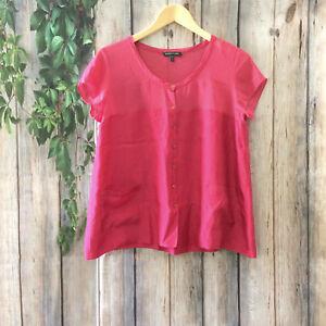 EILEEN-FISHER-Silk-Blouse-Top-Women-XS-Pink-Shirt-Short-Sleeve-Button-Up