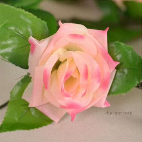 8Ft Artificial Rose Garland Silk Flower Vine Ivy Wedding Garden String Decor HOT