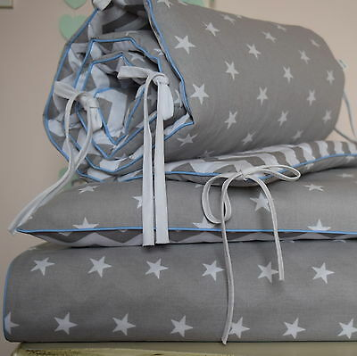 COTTON Cot Bed Duvet Cover Set Boys grey Stars baby blue striped piping