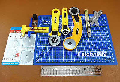Rotary Cutter Circle Compass Cutter Ruler A4 Cutting Mat Leather Tool Kit Set