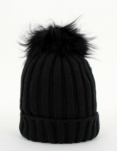 WOMENS New Winter Knitted BEANIE Ski HAT Faux Fur Bobble Pom Pom Slouch Baggy