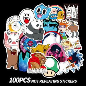 100Pcs-Cute-Cartoon-Stickers-For-Laptop-Motorcycle-Skateboard-Luggage-Decals