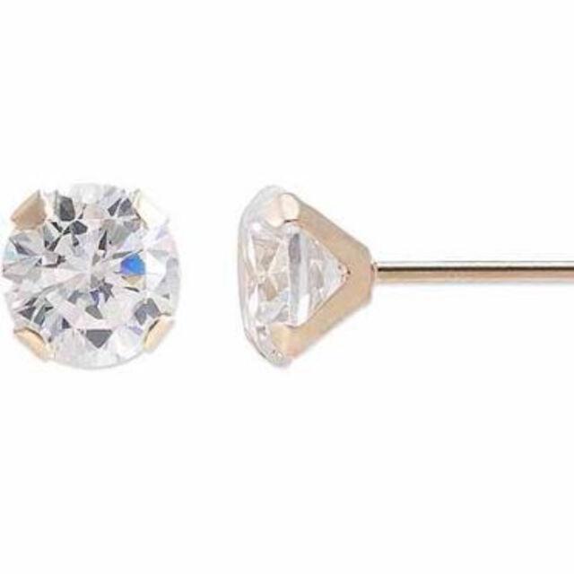 Genuine Round Diamond Stud Screw Back Earrings~14k Yellow gold ~ Gift box incl.