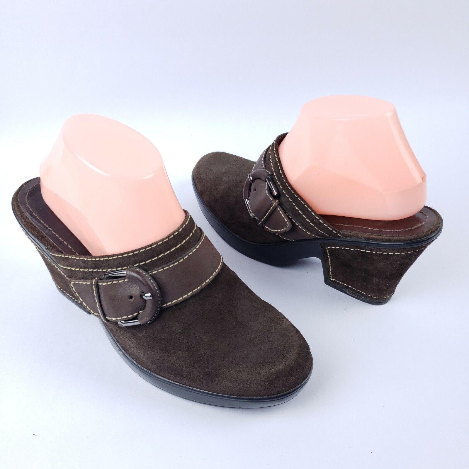 """Antonio Melani Brown Leather Suede Mule Clog Block Heel Buckle Size 9.5"""" M"""