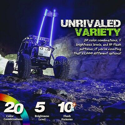 2pcs 3FT//0.9M Color LED Whips 360° Wrapped+Remote Control for Buggy ATV//UTV tps