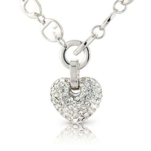 3 PIECE JEWELLERY SET CHUNKY SILVER HEART EARRINGS BRACELET CRYSTALS GIFT BOXED