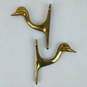 Solid-Brass-Duck-Geese-Goose-Wall-Hooks-Hangers-Vintage-Set-of-2-8-oz-each