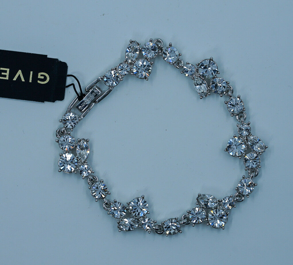 Givenchy Bracelet Clear Crystals Flex Elegant Bridal New