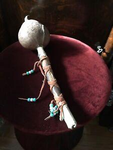 Native American Musical Instrument Cacher, Bois, Shaker. Perles-afficher Le Titre D'origine Vente Chaude 50-70% De RéDuction