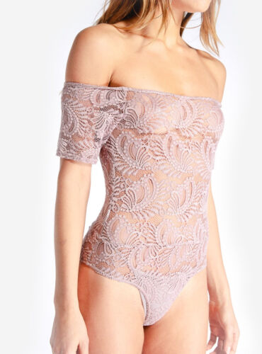 Hidden Fashion Lilac Lace Bardot Bodysuit Size RRP £25