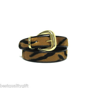 NEW-GOLD-PLATED-BUCKLE-TONE-TIGER-PRINT-FAUX-FUR-WOMEN-039-S-BELT-92963TG