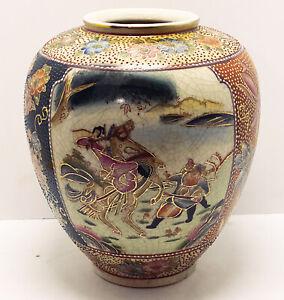 Vintage-Japanese-Satsuma-Beaded-Moriage-Samurai-Warrior-Ginger-Jar-Vase-10-H-8-W
