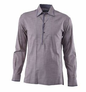 DOLCE-amp-GABBANA-Georgette-Trim-Over-Fit-Polo-Shirt-Cotton-Silk-Grey-Brown-04388