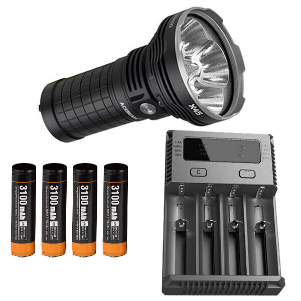 Combo   Acebeam X45 Flashlight w  I4 Charger, 4x Acebeam 3100mAh Batteries  authentic online