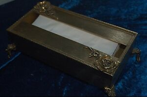Vintage Decorative Metal Tissue Holder with Rose Detail and ornate legs