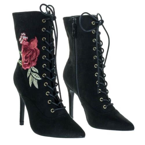 Akira147A Women Corset Combat Boot w Rose Metallic Embroidered Stitch High Heel