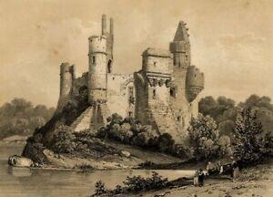 Peter-Hawke-Anjou-Vue-Chateau-du-Plessis-Mace-Lithographie-originale-XIXe