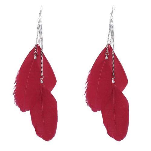 Main Vintage boheme Boucles d/'oreilles plumes long Goutte rouge F3N6