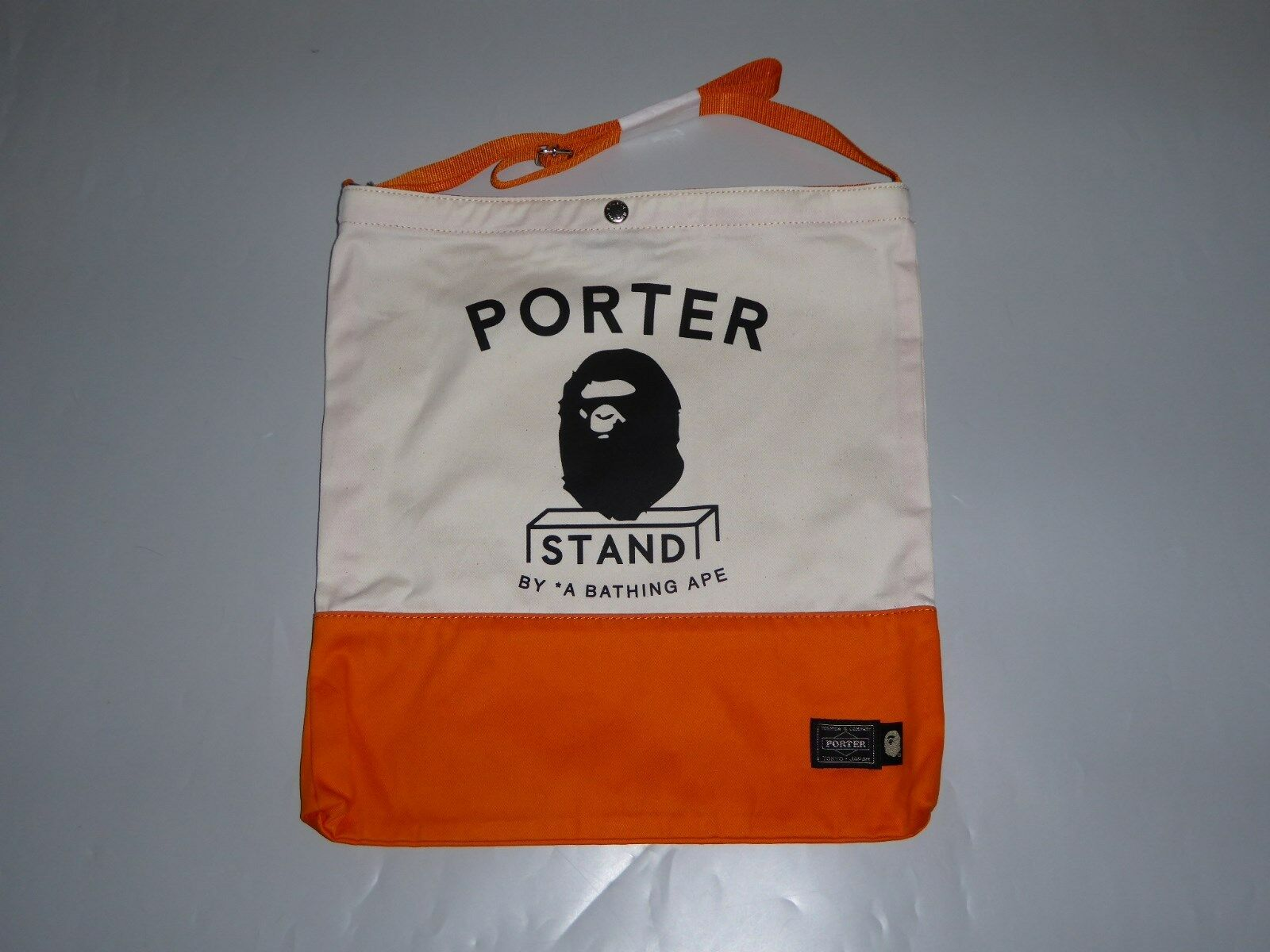 17024 bape porter stand tee XL & shoulder tote bag XL tee 5194de