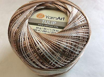 Variegated Green White YarnArt Tulip Sz 10 Microfiber Thread 17330 50g 273y