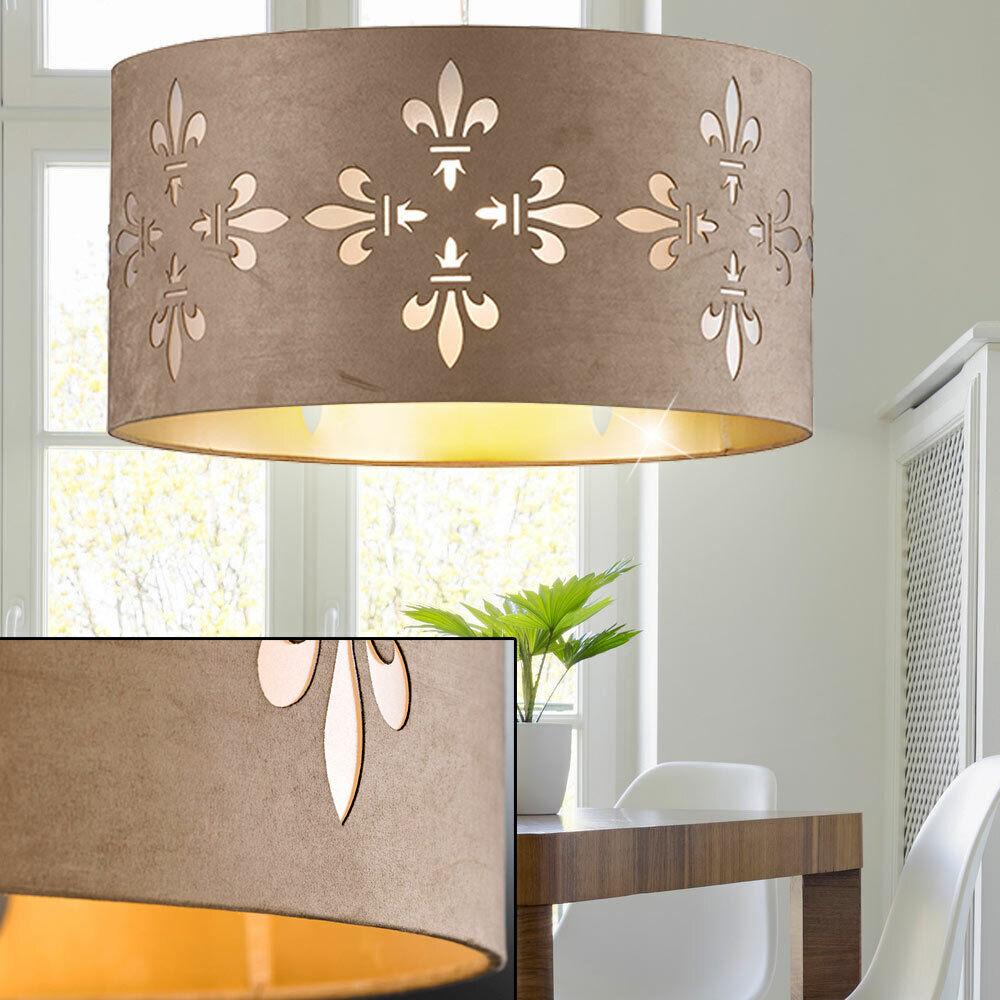 Textil Pendel Decken Lampe cappuccino Gäste Zimmer Blaumen Stanzung Hänge Leuchte