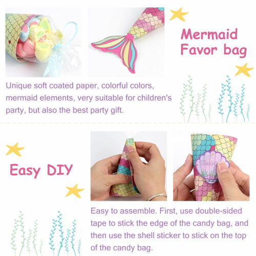 36×Mermaid Party Treat Bags Candy Box Gift Bags with Shell Sticker Kids Birthday
