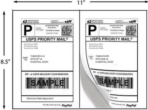2//Sheet  UPS Shipped Best Print ® 200 Shipping Labels Half Sheet 8.5 x 5 inches