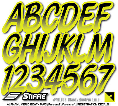 Stiffie Whipline White//Sky Blue 3 Alpha-Numeric Registration Identification Numbers Stickers Decals for Boats /& Personal Watercraft