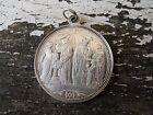 Médaille Argent Massif XIXème riche décor BAPTÊME COMMUNION CONFIRMATION 1877