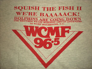 Vintage wcmf 96 5 fm rochester ny squish the fish t for Squish the fish