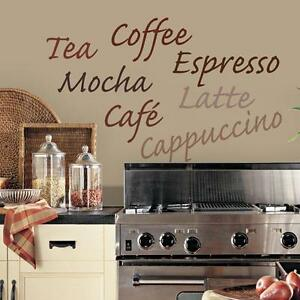 Http Www Ebay Com Itm Coffee Kitchen Words Wall Decals Vinyl Stickers Wall Decor Lettering Border 262285049232