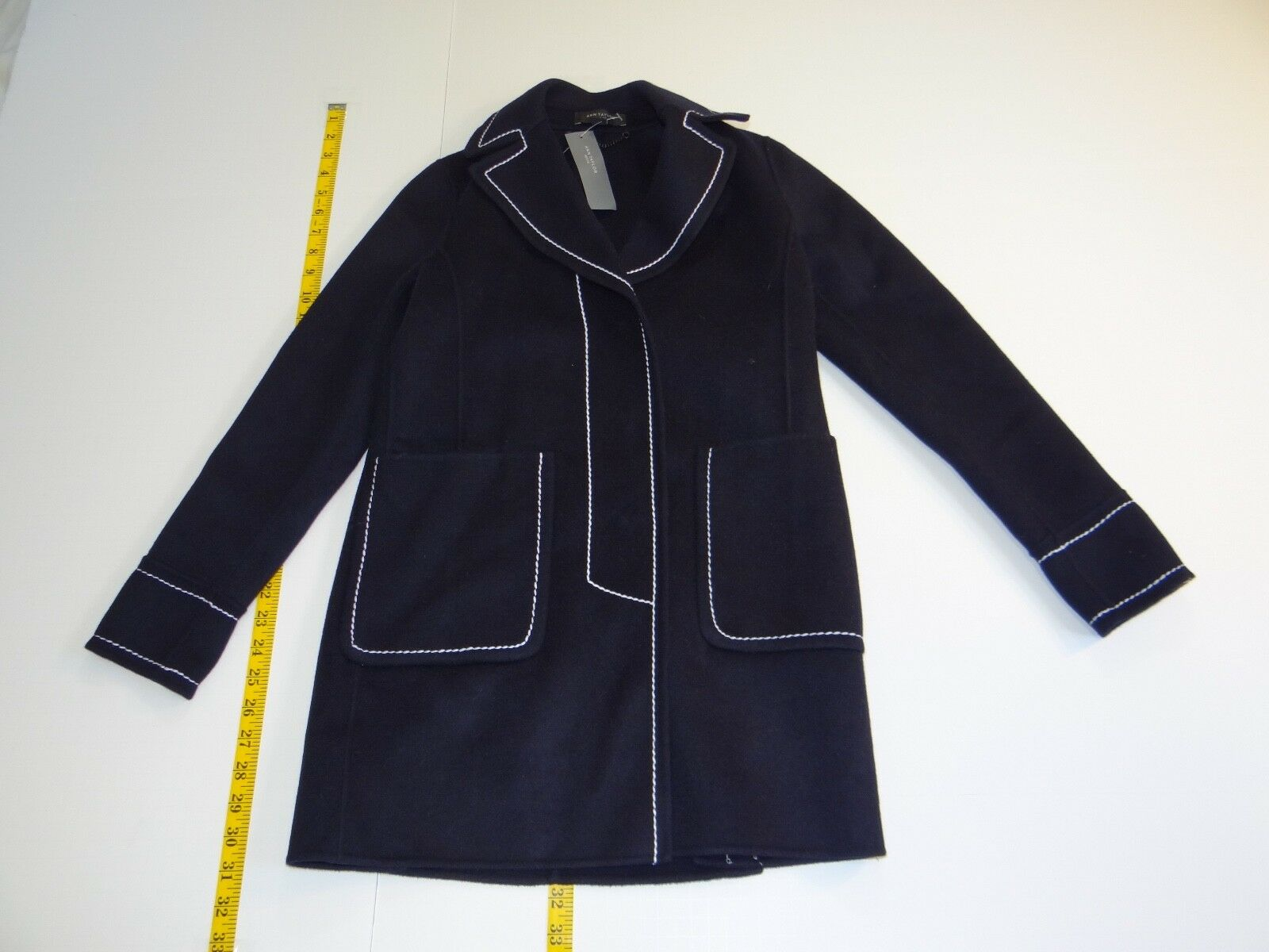 Ann Taylor Women's Navy bluee Wool Blend Winter Coat XXSP XXS Petite NWT NEW