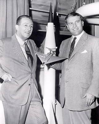 WALT DISNEY AND DR. WERNHER VON BRAUN 8x10 PHOTO NASA