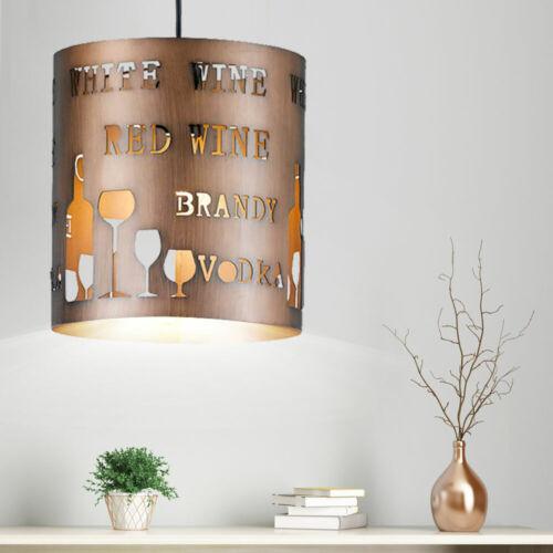 Vintage Decken Lampe VINE BRANDY WODKA Muster Bar Theken Tisch Leuchte Metall