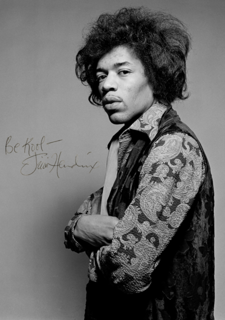 JIMI HENDRIX SIGNED PHOTO AND CONCERT POSTER 8 X 11